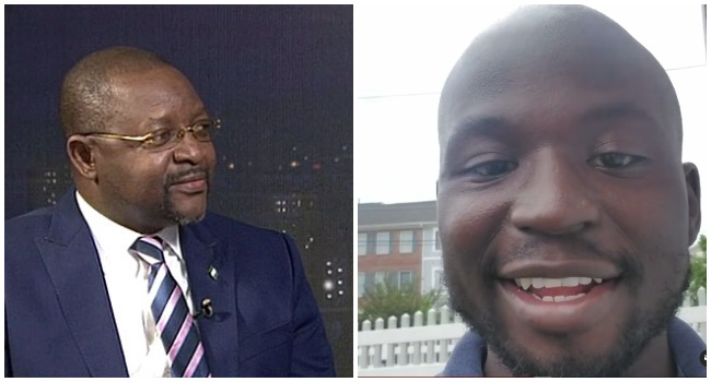 A photo combination of Minister of Youth and Sports, Sunday Dare and first Nigerian-American US Congressman, Oye Owolewa