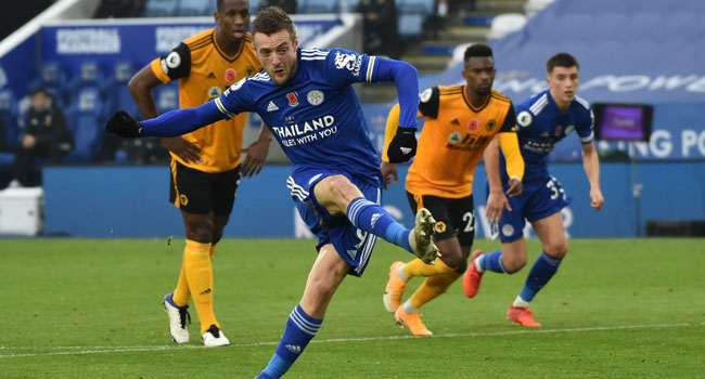 Leicester Go Top Of Premier League As Vardy Tames Wolves