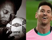 A photo combination of Pele and Lionel Messi created on December 28, 2020.