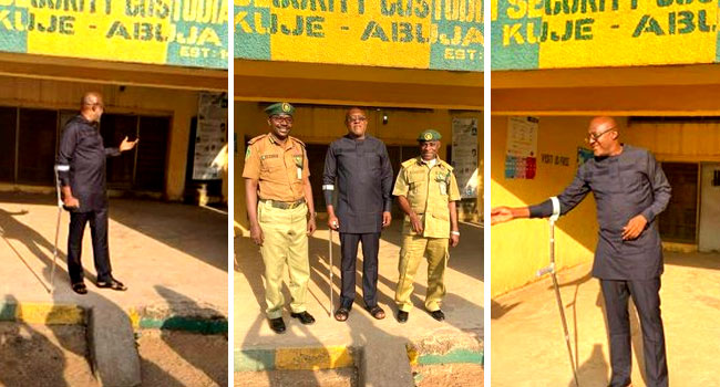 PHOTOS: Ex-PDP Spokesman, Olisa Metuh Released From Kuje Prison