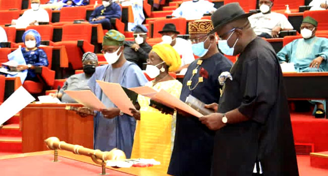 Senate President Swears In Dickson, Abiru, Two Other Senators
