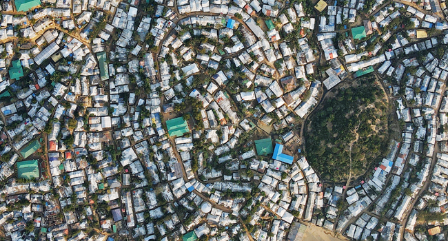 In this aerial picture taken on December 4, 2020, the Kutupalong camp for Rohingya refugees is pictured in Ukhia. AFP