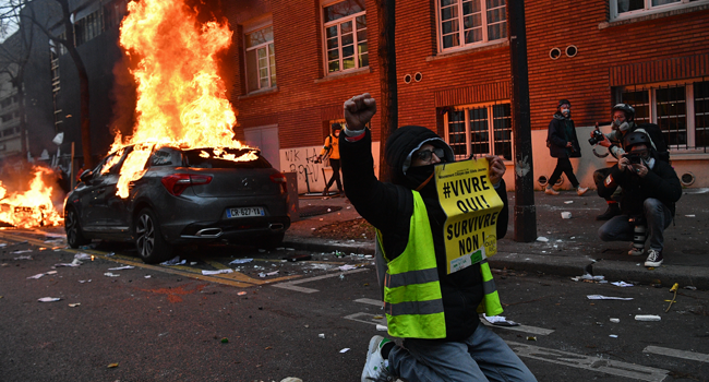 Violence Breaks Out In Paris As Protest Against New Security Law Continues
