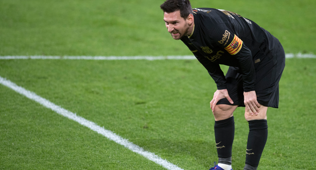 Barcelona's Argentinian forward Lionel Messi reacts during the Spanish League football match between Cadiz and Barcelona at the Ramon de Carranza stadium in Cadiz on December 5, 2020. JORGE GUERRERO / AFP