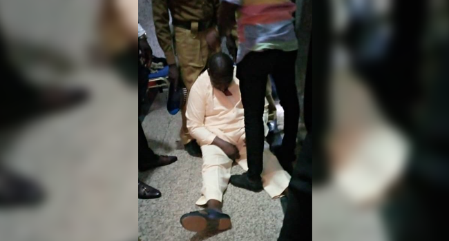 This photo shows ex-Pension boss, Abdulrasheed Maina after he collapsed in court on December 10, 2020.