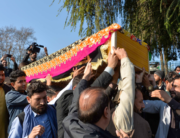 Mourners carry the coffin of female news anchor Malalai Maiwand, who was shot dead by gunmen in Jalalabad on December 10, 2020. NOORULLAH SHIRZADA / AFP