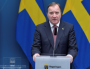 Swedish Prime Minister Stefan Lofven adresses a press conference on December 18, 2020 in Stockholm on new restrictions during the coronavirus (Covid-19) pandemic. Jessica GOW / TT NEWS AGENCY / AFP
