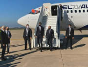 A screen grab from a handout video released by the US embassy in Morocco shows US President's advisor Jared Kushner (L) and Israeli National Security Advisor Meir Ben Shabbat leaving the plane upon landing, in Moroco's capital Rabat, on December 22, 2020, on the first Israel-Morocco direct commercial flight, marking the latest US-brokered diplomatic normalisation deal between the Jewish state and an Arab country. US EMBASSY IN MOROCCO / AFP