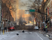 In this photo from the Twitter page of the Metro Nashville Police Department, damage is seen on a street after an explosion in Nashville, Tennessee on December 25, 2020. Handout / Metro Nashville Police Department / AFP