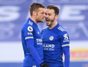 Leicester City's English striker Jamie Vardy (L) celebrates with Leicester City's English midfielder James Maddison (R) after scoring their second goal during the English Premier League football match between Leicester City and Manchester United at King Power Stadium in Leicester, central England on December 26, 2020. Michael Regan / POOL / AFP