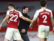 Arsenal's Spanish manager Mikel Arteta (C) xelebrates with Arsenal's Spanish defender Pablo Mari after the English Premier League football match between Arsenal and Chelsea at the Emirates Stadium in London on December 26, 2020. Julian Finney / POOL / AFP