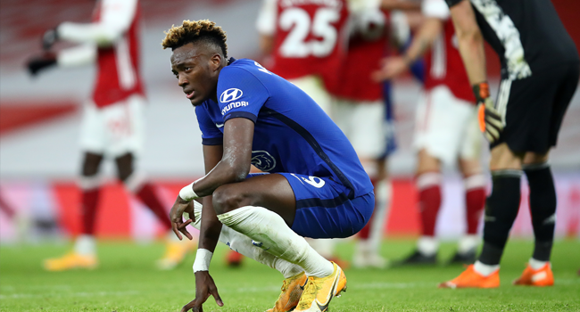 Chelsea's English striker Tammy Abraham recats after the English Premier League football match between Arsenal and Chelsea at the Emirates Stadium in London on December 26, 2020. Julian Finney / POOL / AFP