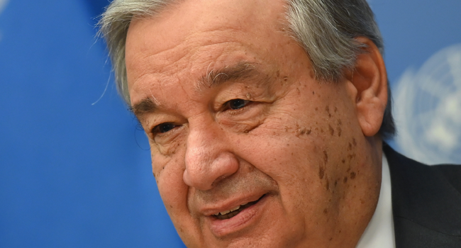 ) In this file photo taken on February 04, 2020, UN Secretary-General Antonio Guterres speaks during a press briefing at UN Headquarters in New York City. Angela Weiss / AFP