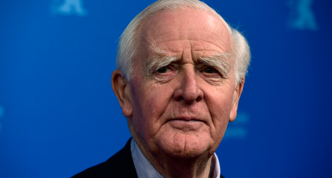 """In this file photo taken on February 18, 2016 British author John le Carre (David John Moore Cornwell) attends a screening of Berlinale Special Series """"The Night Manager"""" during the 66th Berlinale Film Festival in Berlin. John MACDOUGALL / AFP"""