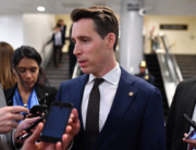 In this file photo taken on January 24, 2020, US Senator Josh Hawley, Republican of Missouri, speaks to the press during a break in the Senate impeachment trial of US President Donald Trump, at the US Capitol in Washington, DC. Mandel NGAN / AFP