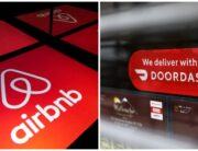 A photo combination created on December 7, 2020, showing Airbnb and Doordash visual identities.