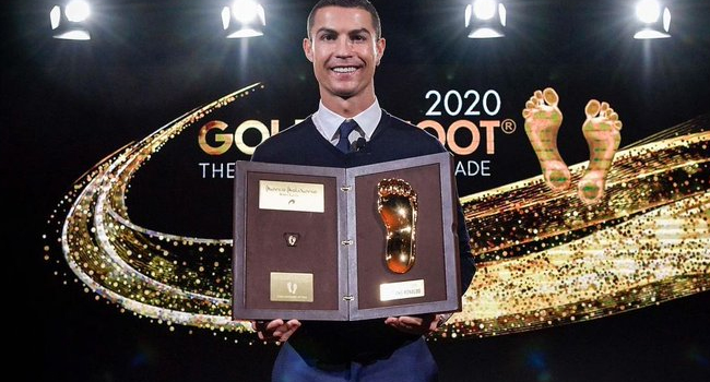 Ronaldo Picks Up 2020 Golden Foot Award After Beating Messi, Others To Prize