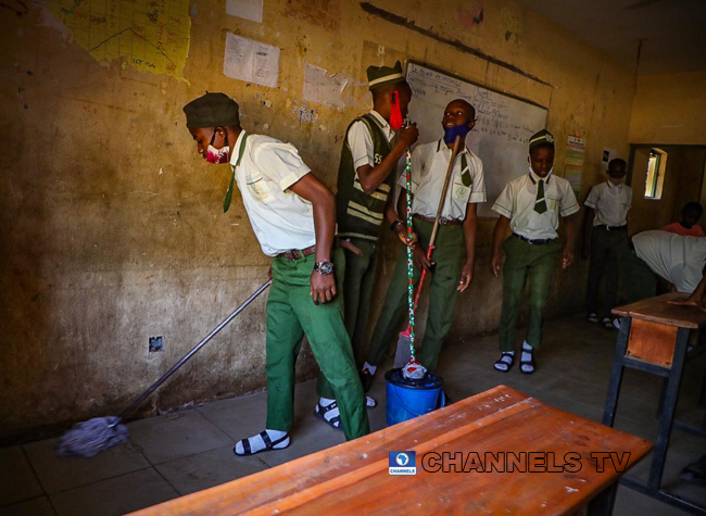 Students resumed at Government Junior Secondary School, Area 11, Garki Abuja on January 18, 2021, amid the coronavirus pandemic. Sodiq Adelakun/Channels Television.