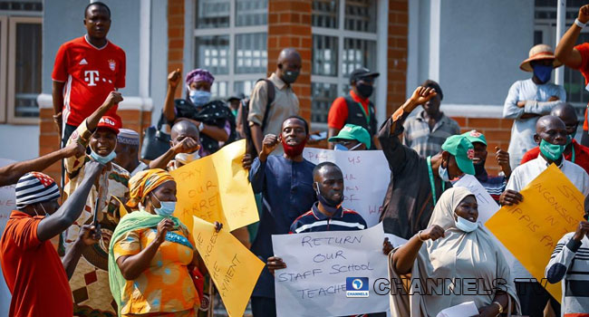 Members of the Joint Action Committee made up of NASU and SSANU, protest in Abuja, the nation's capital on January 12, 2021. PHOTO: Sodiq Adelakun