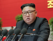 This picture taken on January 8, 2021 and released from North Korea's official Korean Central News Agency (KCNA) on January 9, 2021 shows North Korean leader Kim Jong Un speaking during the fourth day of 8th Congress of the Workers' Party of Korea (WPK) in Pyongyang. STR / KCNA VIA KNS / AFP