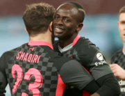 Liverpool's Senegalese striker Sadio Mane celebrates scoring his team's third goal during the English FA Cup third round football match between Aston Villa and Liverpool at Villa Park in Birmingham, central England on January 8, 2021. HANNAH MCKAY / POOL / AFP
