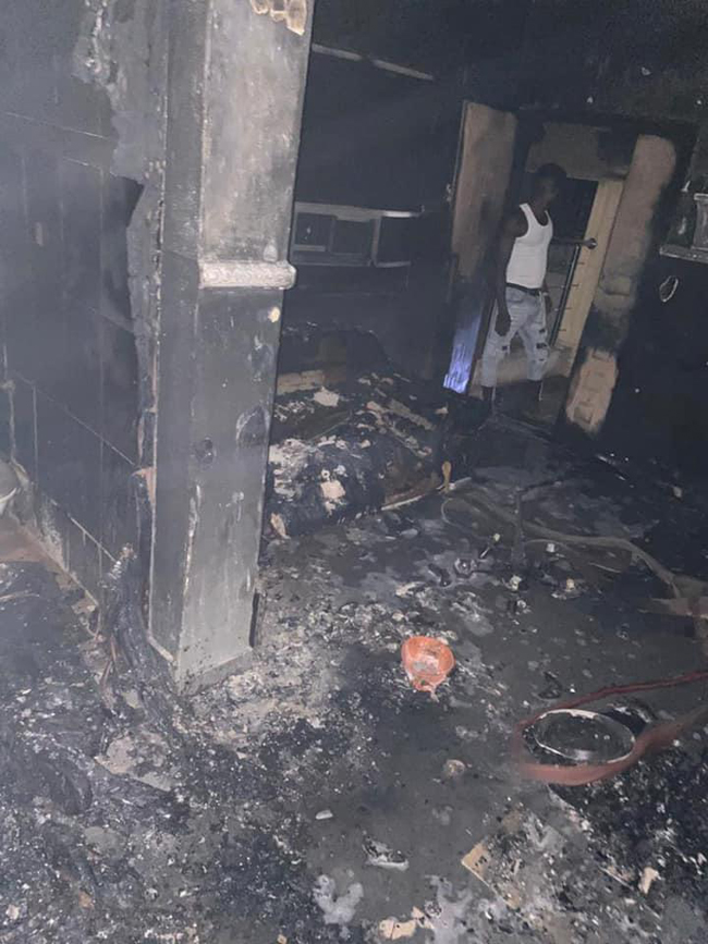 Mr Sunday Igboho's house was engulfed in flames on January 26, 2021.