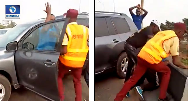 VIDEO: Lagos Motorist Knocks Police Officer Into Canal