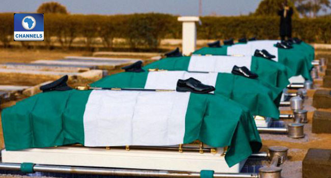 NAF Plane Crash: Burial Of Beechcraft King Air 350 Crew Holds In Abuja