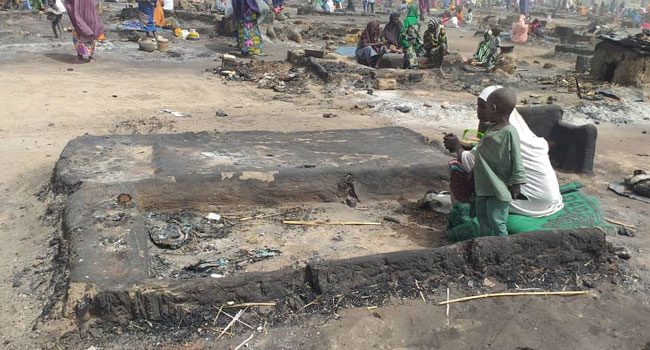 An Internally Displaced Person Camp in Maiduguri, the Borno State capital, has been gutted by fire