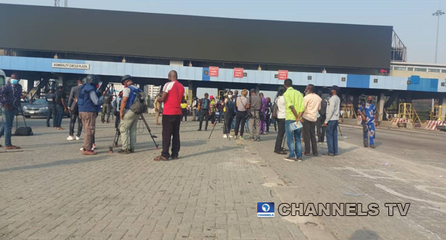 Journalists converged at the Lekki toll gate on February 13, 2021.