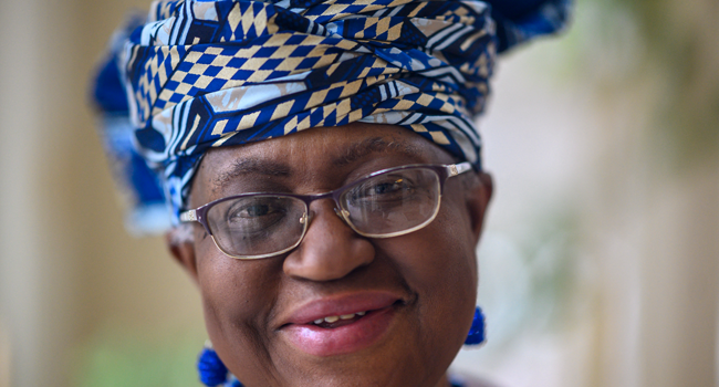 Nigeria's Ngozi Okonjo-Iweala poses at her home in Potomac, Maryland, near Washington DC, minutes before she was confirmed as the first woman and first African leader of the beleaguered World Trade Organization,on February 15, 2021. Eric BARADAT / AFP