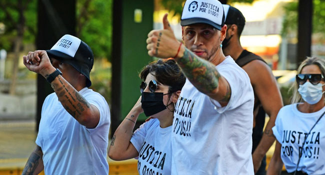 Argentine Fans Protest To Demand 'Justice' For Diego Maradona