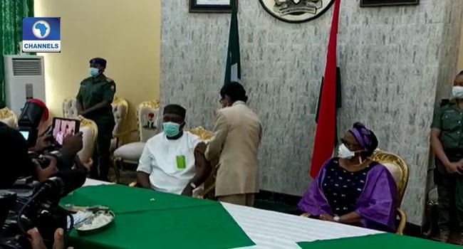 Enugu Governor Ugwuanyi Receive COVID-19 Vaccine