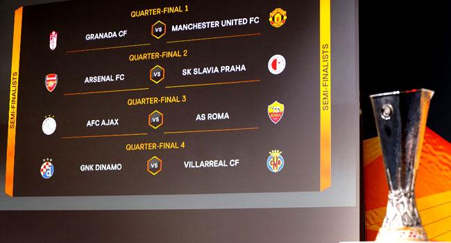 Man United Face Granada, Arsenal Draw Slavia In Europa Quarter-Finals