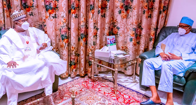 Buhari Meets New Chairman Of NDLEA, Brigadier-General Buba Marwa
