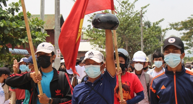 Myanmar Protesters Take To Streets After Weekend Bloodbath