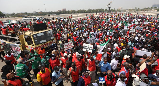 PHOTOS: NLC Protest At Unity Fountain, NASS Over Minimum Wage