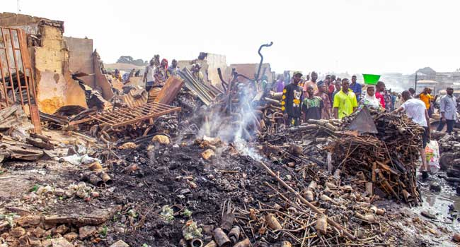 Seyi Makinde has visited the Agodi Gate auto spare parts market in Ibadan which was gutted by fire on Friday