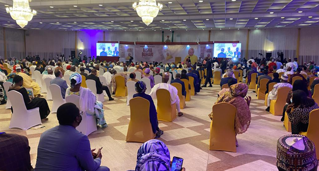A cross-section of the audience at the book launch of a book about First Lady, Aisha Buhari on April 8, 2021.