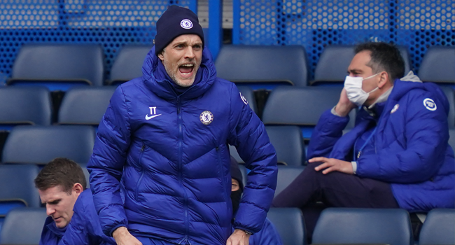 Chelsea's German head coach Thomas Tuchel gestures from the side-lines during the English Premier League football match between Chelsea and West Bromwich Albion at Stamford Bridge in London on April 3, 2021. John Walton / POOL / AFP
