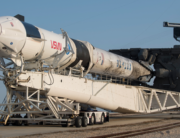 In this image released by NASA, a SpaceX Falcon 9 rocket with the company's Crew Dragon spacecraft onboard is rolled out of the horizontal integration facility at Launch Complex 39A during preparations for the Crew-2 mission, on April 16, 2021, at Kennedy Space Center in Florida. Aubrey GEMIGNANI / NASA / AFP