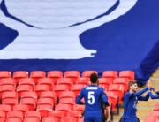 Chelsea's Moroccan midfielder Hakim Ziyech (R) celebrates scoring his team's first goal during the English FA Cup semi-final football match between Chelsea and Manchester City at Wembley Stadium in north west London on April 17, 2021. Ben STANSALL / POOL / AFP