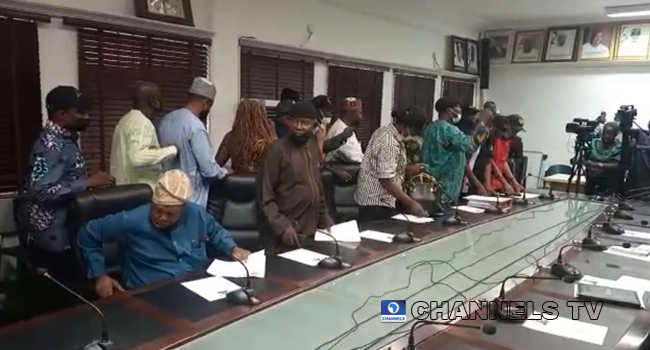 Judiciary workers staged a walkout from a meeting with Federal Government representatives on April 20, 2021.