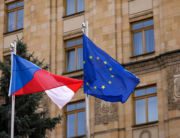A Czech and a European Union flags flies at the Czech embassy in Moscow on April 19, 2021. Dimitar DILKOFF / AFP