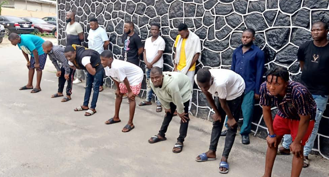The Economic and Financial Crimes Commission said it had arrested some 14 suspected internet fraudsters on April 20, 2021. Credit: EFCC
