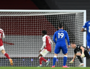Arsenal's German goalkeeper Bernd Leno (2nd R) watches after deflecting the ball into his own het for an own-goal during the English Premier League football match between Arsenal and Everton at the Emirates Stadium in London on April 23, 2021. Michael Regan / POOL / AFP