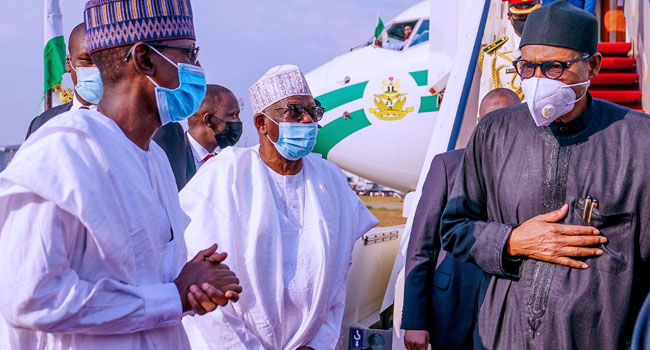 President Muhammadu Buhari has arrived the country