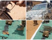A combination of photos showing weapons and a truck recovered from Boko Haram terrorists by the Nigerian Army on April 23, 2021.