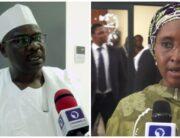 A photo combination of Senator Ali Ndume and Finance Minister, Zainab Ahmed.