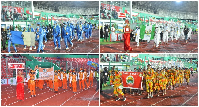 This photo combination shows teams from various states at the opening ceremony of the 20th National Sports Festival in Edo States on April 6, 2021.